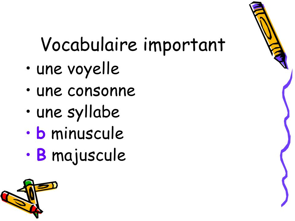 Vocabulaire important