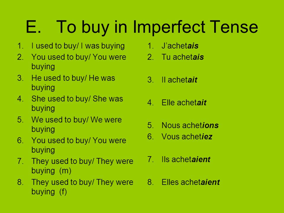 E. To buy in Imperfect Tense