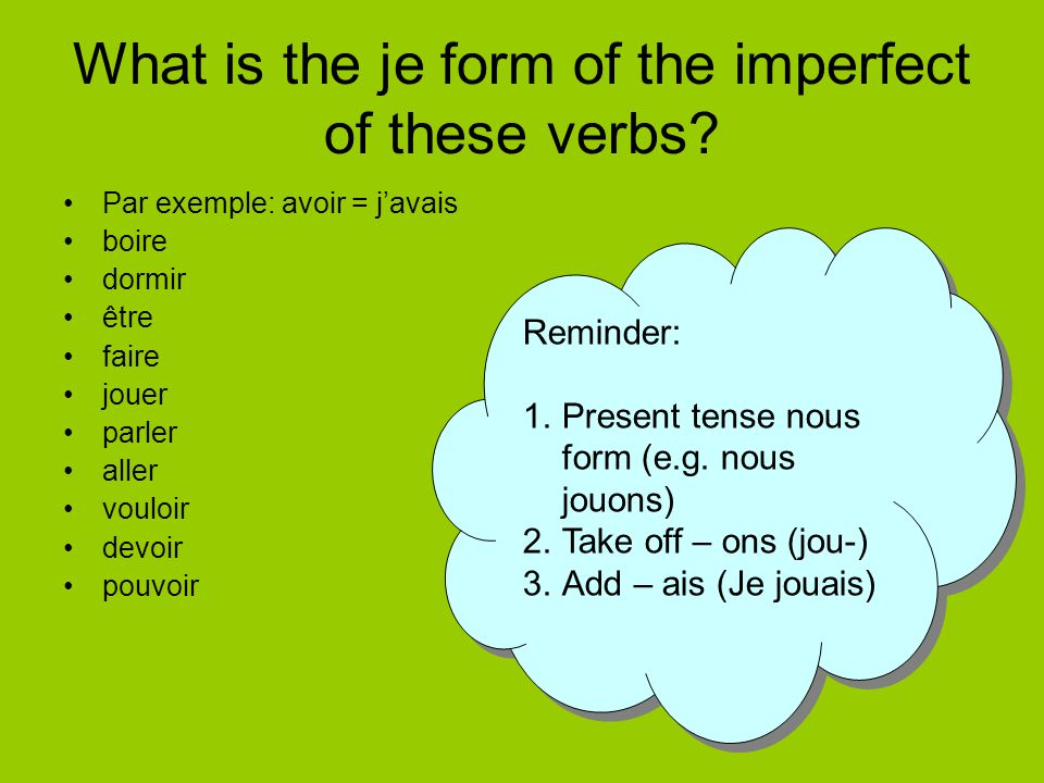 What is the je form of the imperfect of these verbs