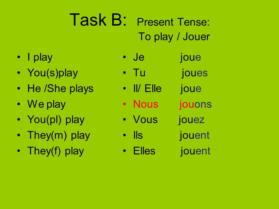Task B: Present Tense: To play / Jouer