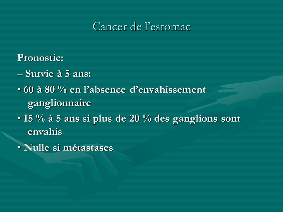 Cancer de l'estomac Pronostic: – Survie à 5 ans: