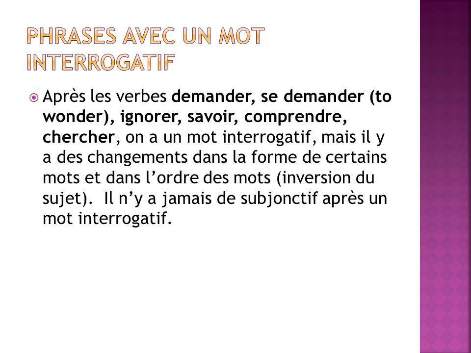 Phrases avec un mot interrogatif