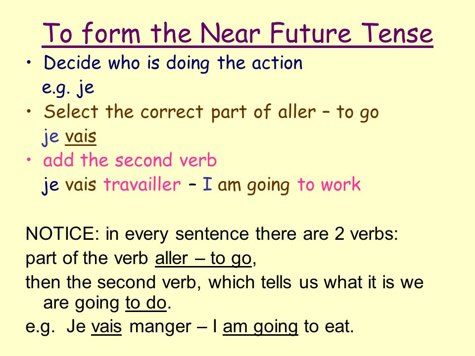 To form the Near Future Tense