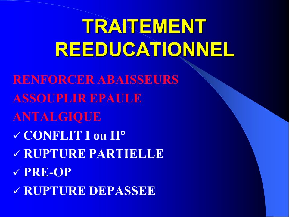 TRAITEMENT REEDUCATIONNEL