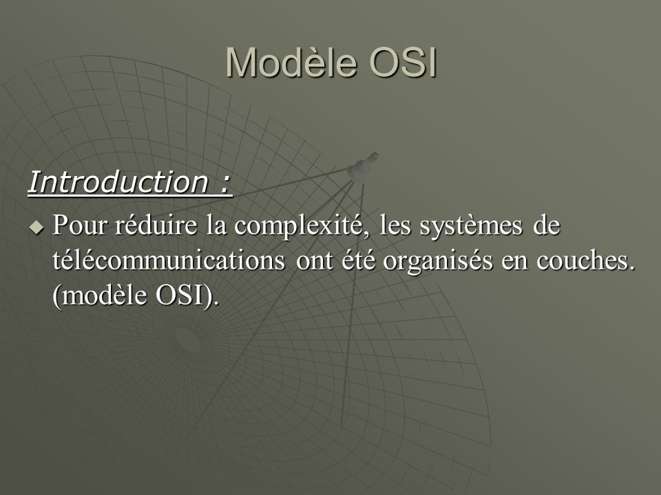 Modèle OSI Introduction :