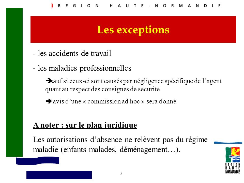 Les exceptions - les accidents de travail