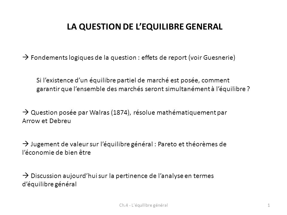 LA QUESTION DE L'EQUILIBRE GENERAL