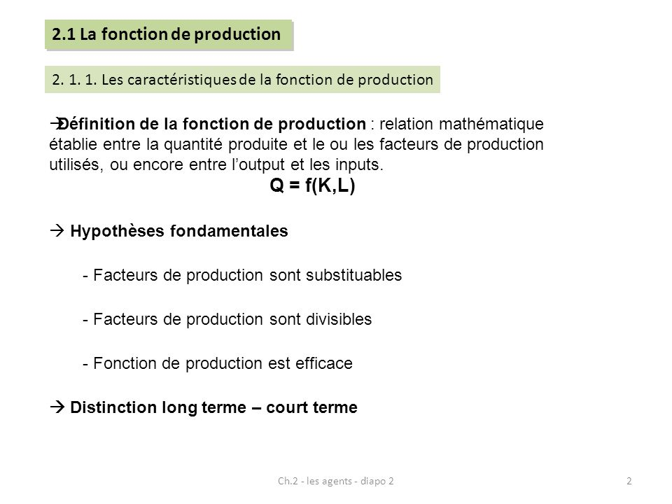 2.1 La fonction de production