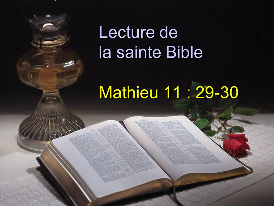 Lecture de la sainte Bible Mathieu 11 : 29-30