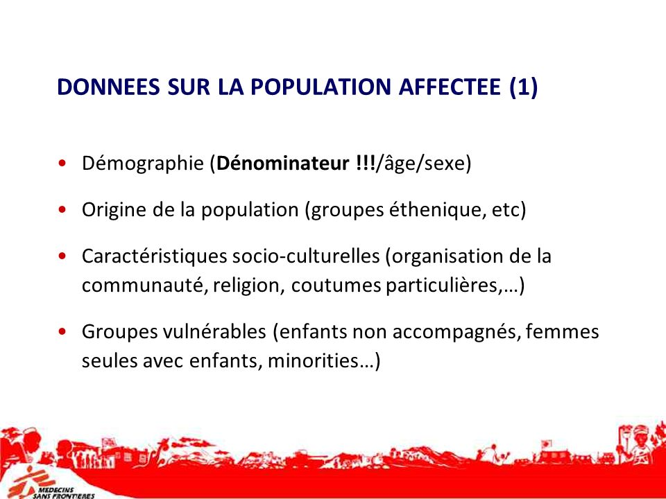 DONNEES SUR LA POPULATION AFFECTEE (1)