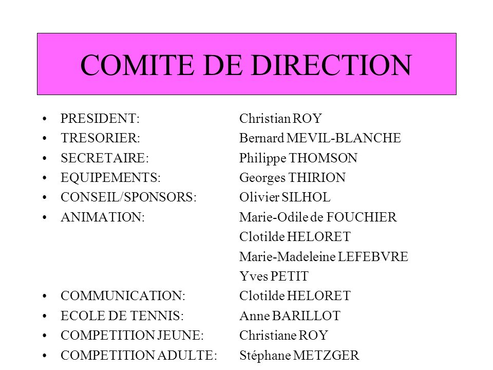 COMITE DE DIRECTION PRESIDENT: Christian ROY