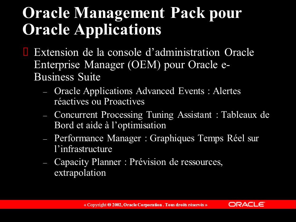 Oracle Management Pack pour Oracle Applications