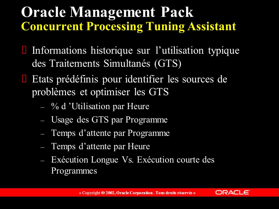 Oracle Management Pack Concurrent Processing Tuning Assistant