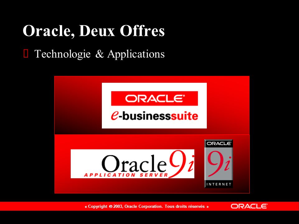 Oracle, Deux Offres Technologie & Applications