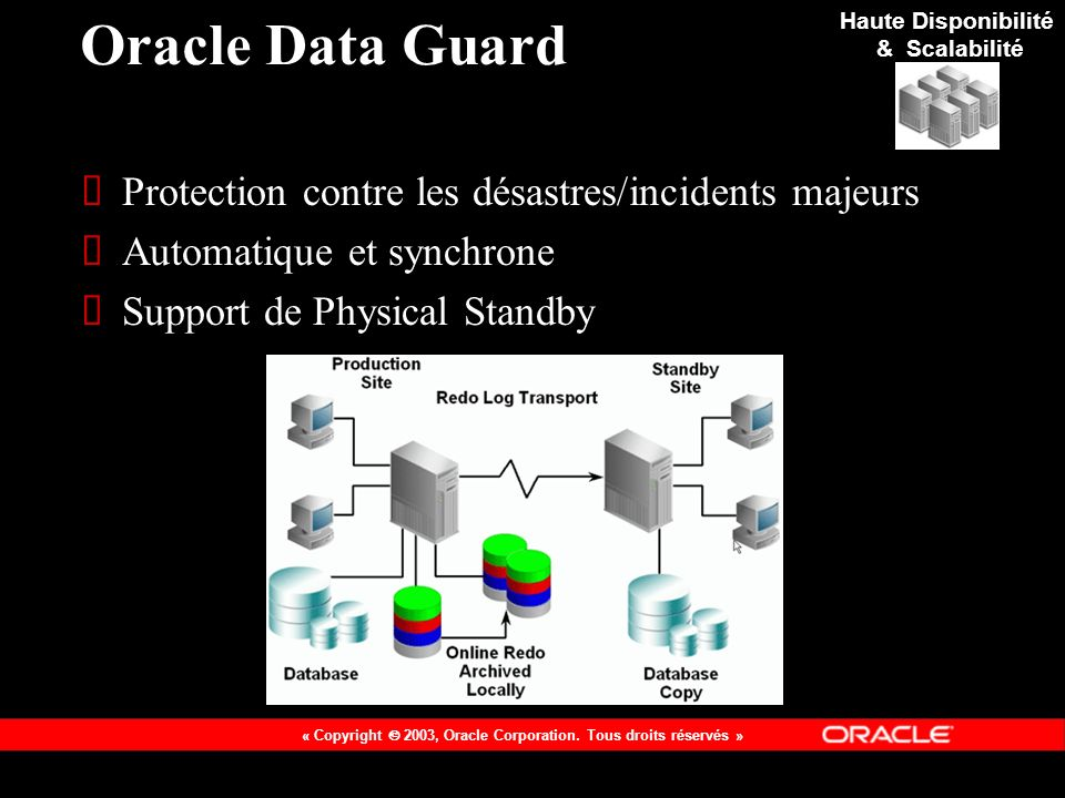 Oracle Data Guard Protection contre les désastres/incidents majeurs