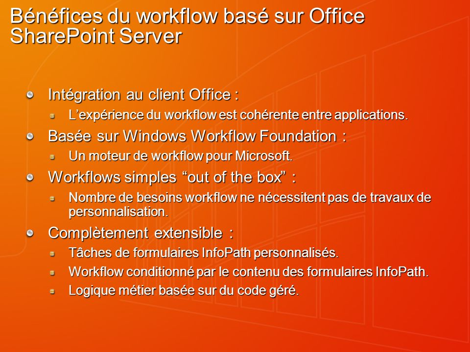 Bénéfices du workflow basé sur Office SharePoint Server