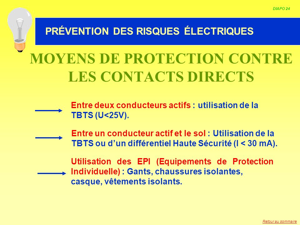 MOYENS DE PROTECTION CONTRE LES CONTACTS DIRECTS