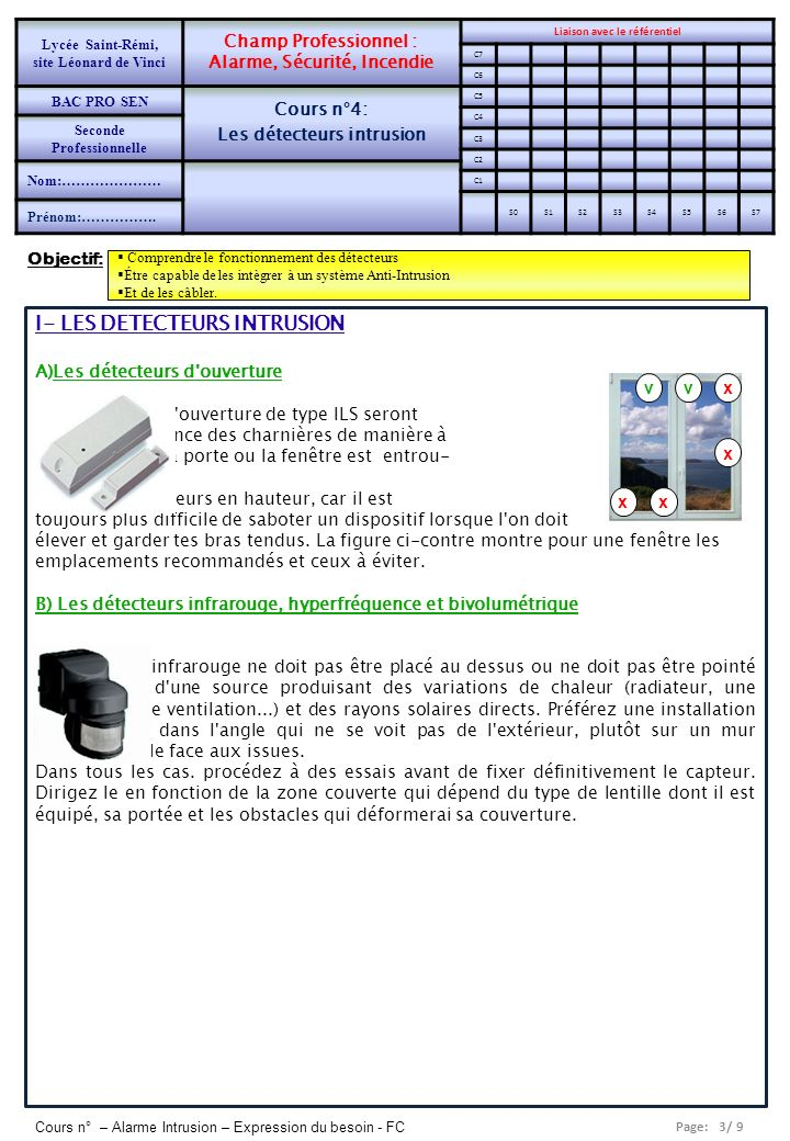 fiche de preparation d une sequence de cours les d tecteurs intrusion ppt video online t l charger. Black Bedroom Furniture Sets. Home Design Ideas