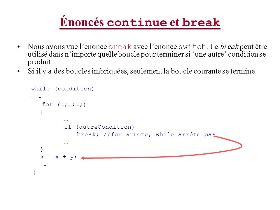Énoncés continue et break