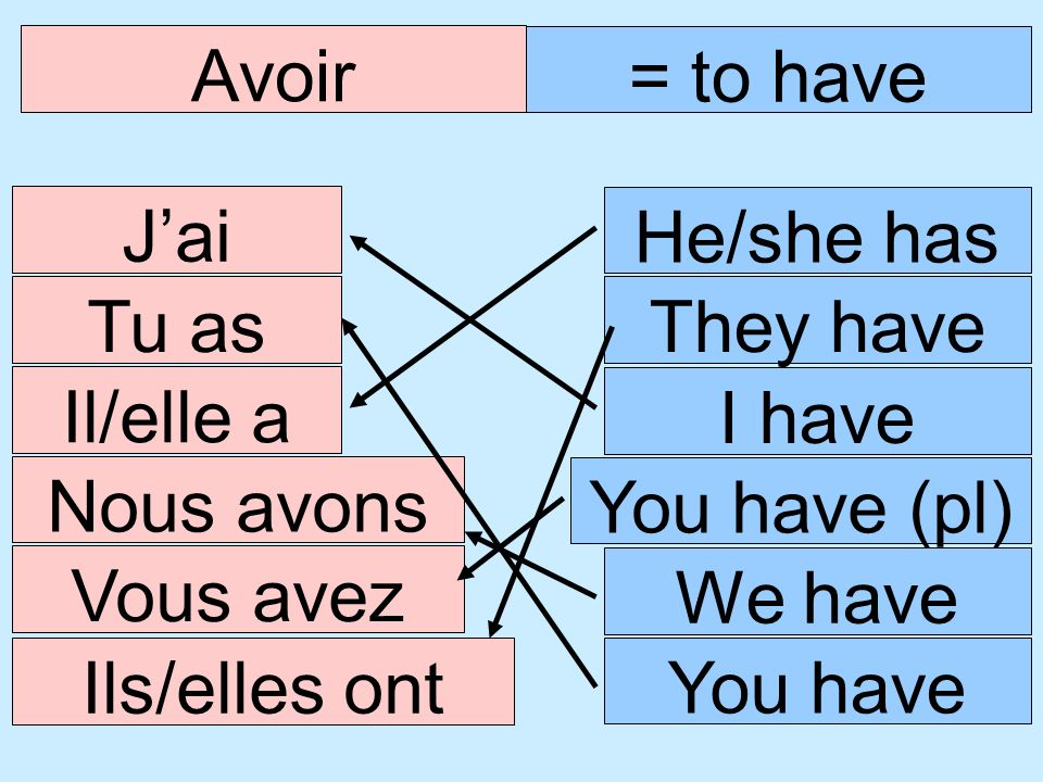 Avoir = to have. J'ai. He/she has. Tu as. They have. Il/elle a. I have. Nous avons. You have (pl)