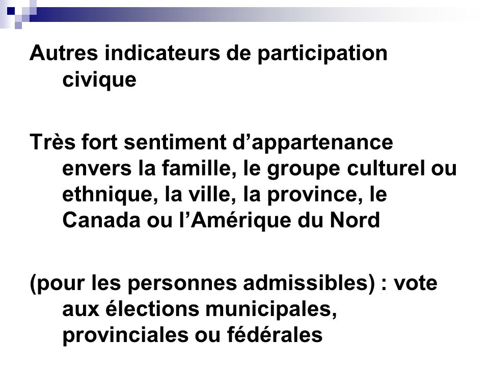 Autres indicateurs de participation civique