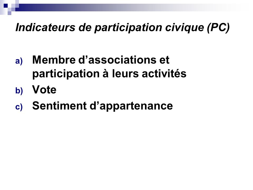 Indicateurs de participation civique (PC)
