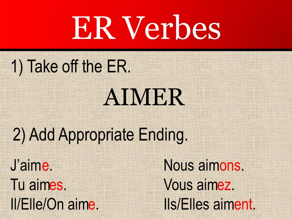 ER Verbes AIM ER 1) Take off the ER. 2) Add Appropriate Ending. J'aim