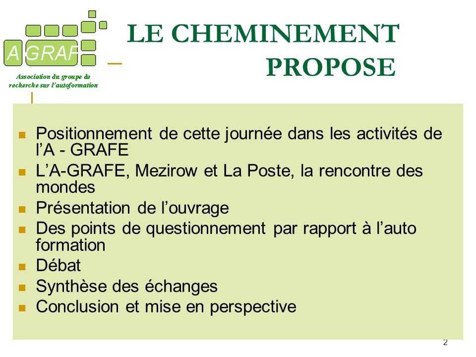 LE CHEMINEMENT PROPOSE