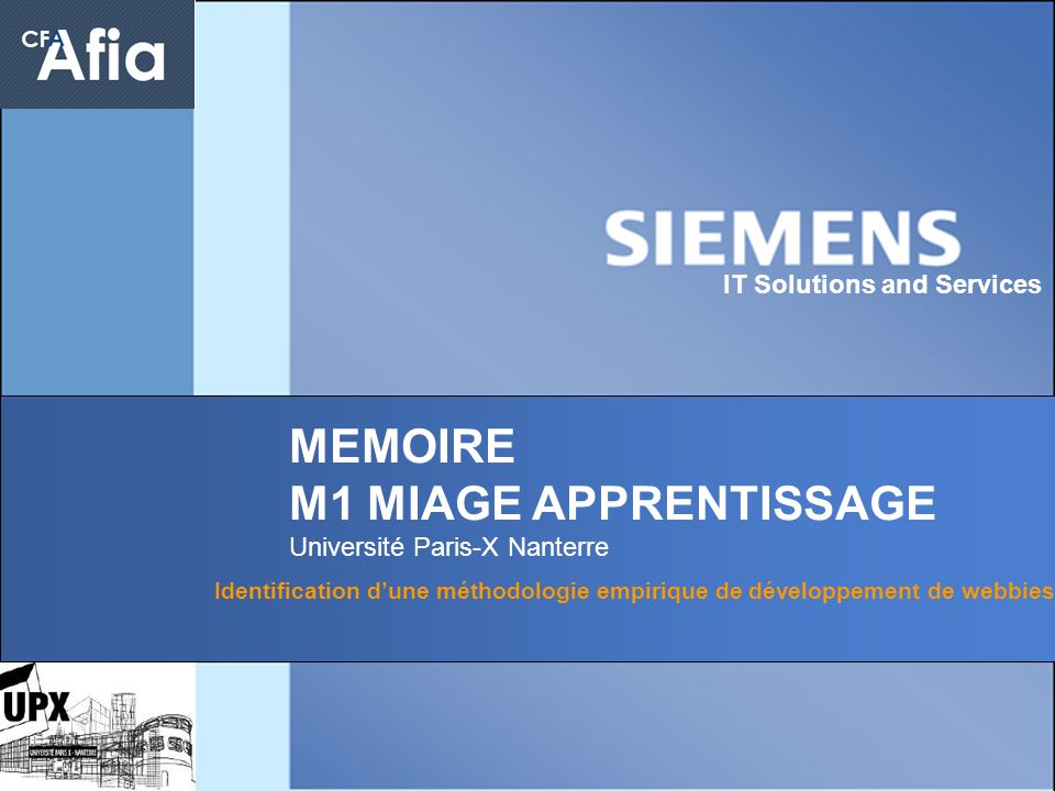 MEMOIRE M1 MIAGE APPRENTISSAGE IT Solutions and Services