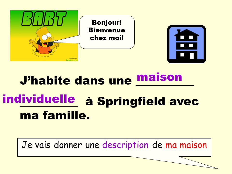 Je vais donner une description de ma maison