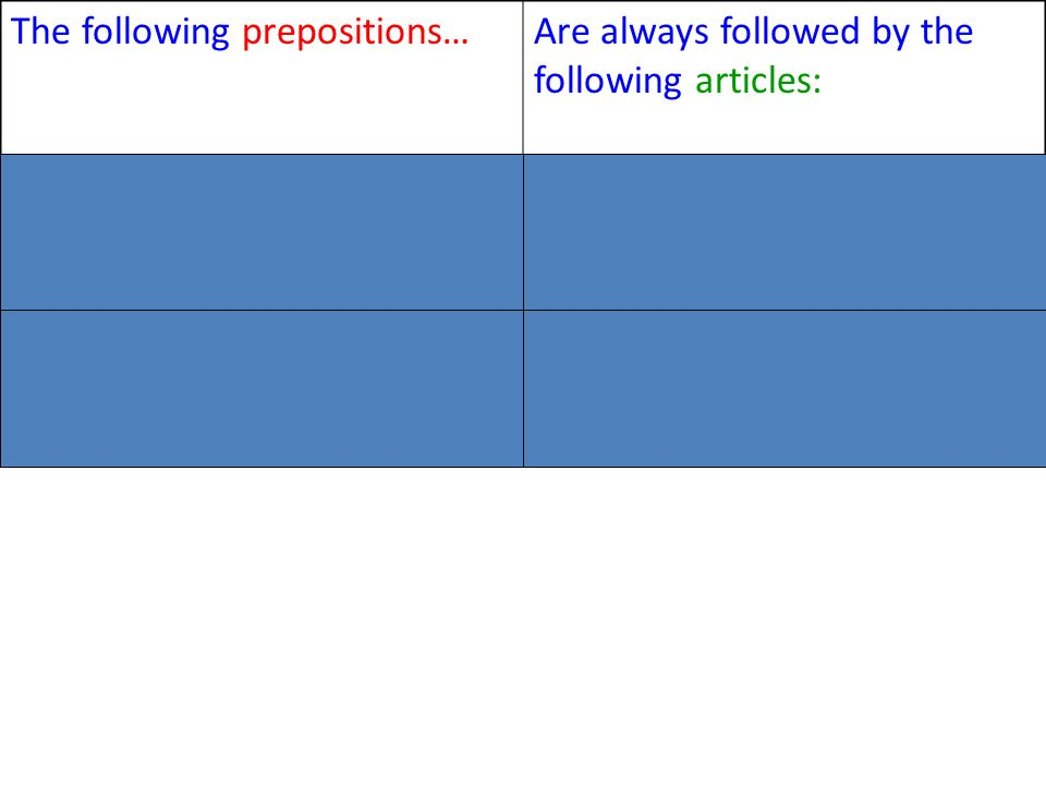 The following prepositions…