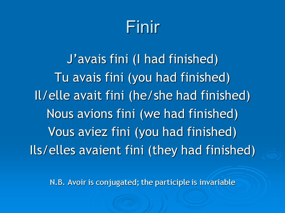 Finir J'avais fini (I had finished) Tu avais fini (you had finished)