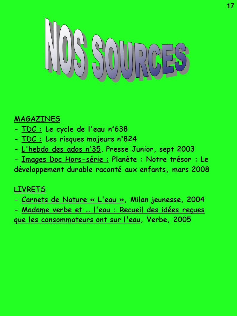 NOS SOURCES 17 MAGAZINES - TDC : Le cycle de l eau n°638