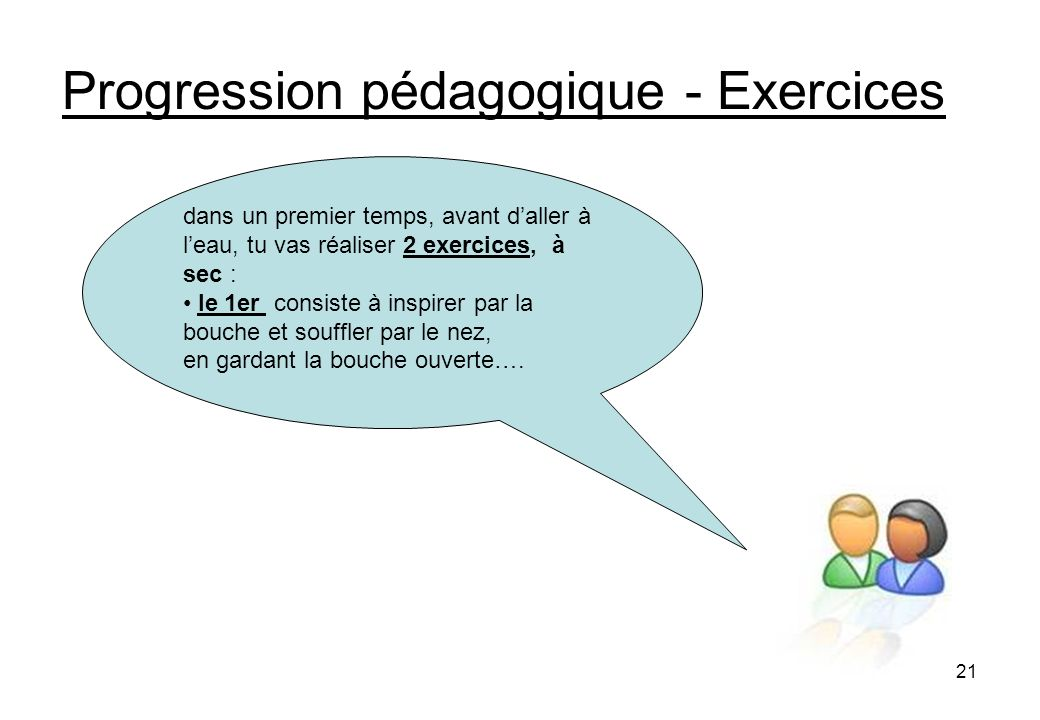 Progression pédagogique - Exercices