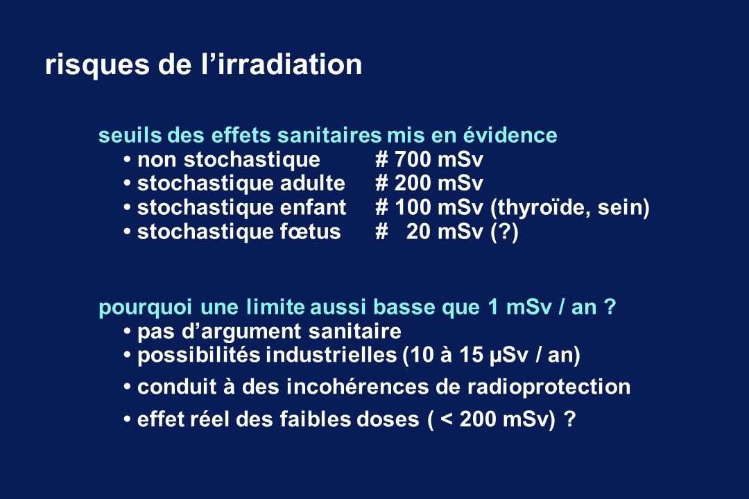 risques de l'irradiation