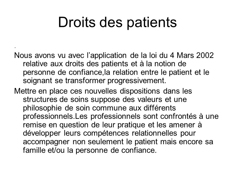 Droits des patients .