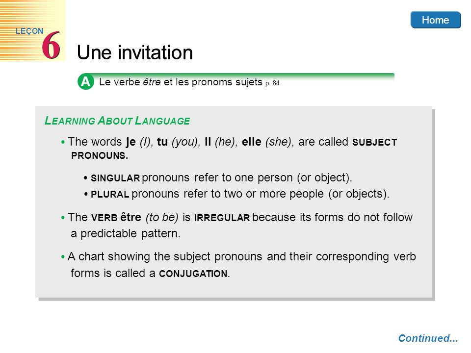 6 Une invitation A LEARNING ABOUT LANGUAGE