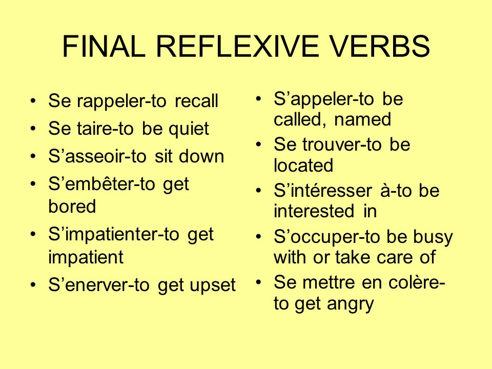 FINAL REFLEXIVE VERBS Se rappeler-to recall Se taire-to be quiet