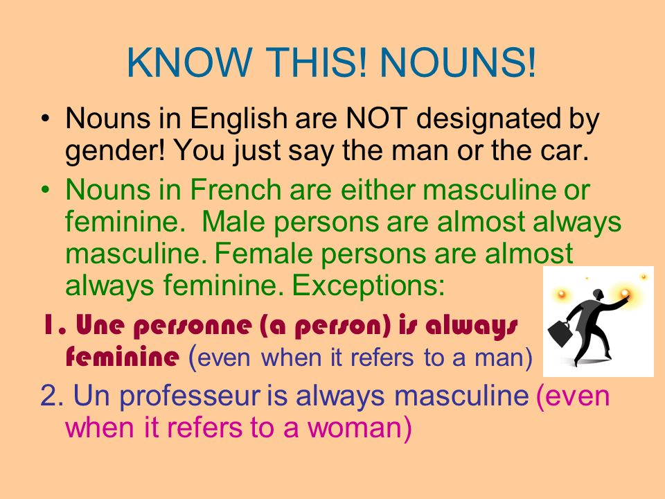 KNOW THIS! NOUNS! Nouns in English are NOT designated by gender! You just say the man or the car.
