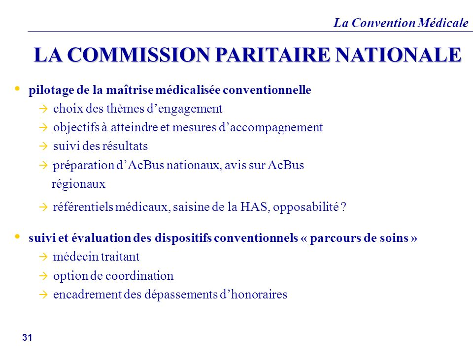 LA COMMISSION PARITAIRE NATIONALE