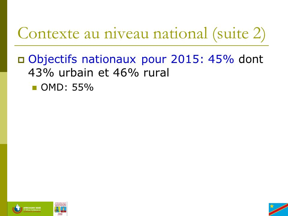 Contexte au niveau national (suite 2)