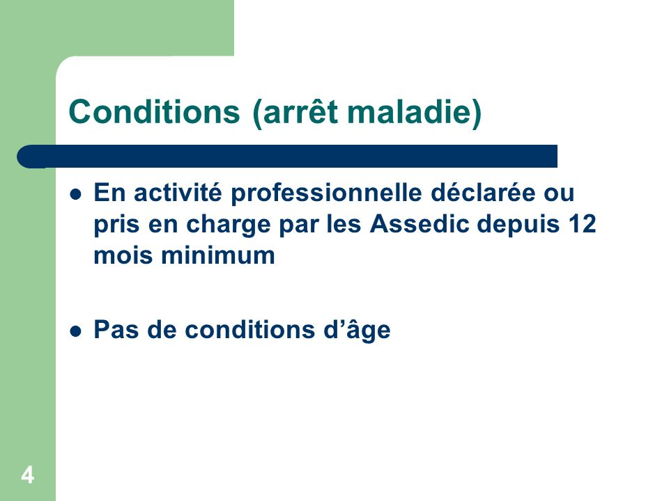 Conditions (arrêt maladie)