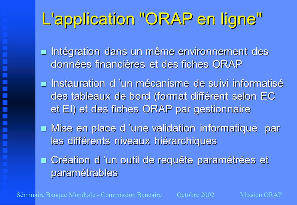 L application ORAP en ligne