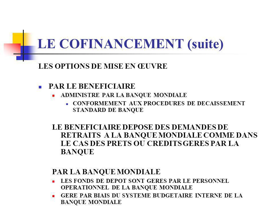 LE COFINANCEMENT (suite)