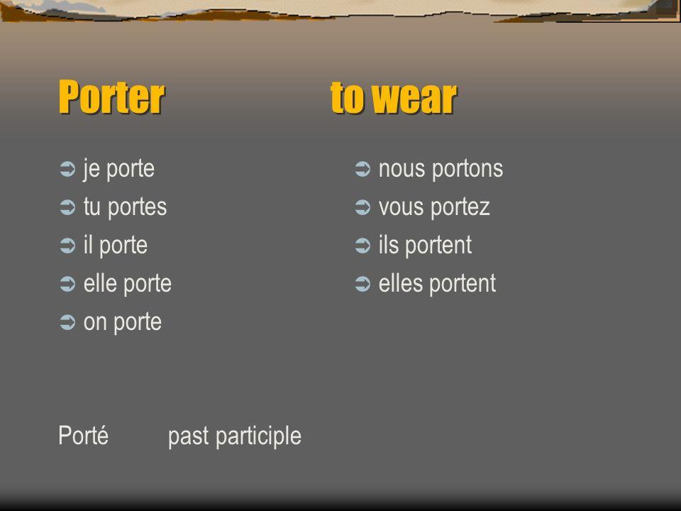 Les Verbes Porter Et Mettre Ppt Telecharger