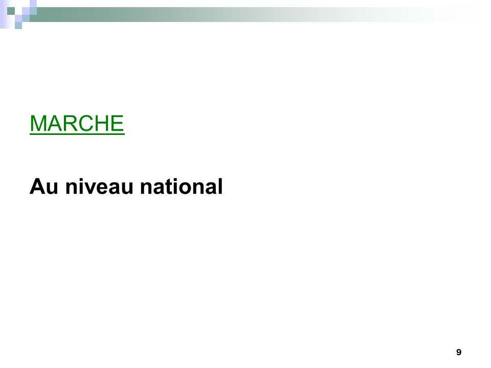 MARCHE Au niveau national