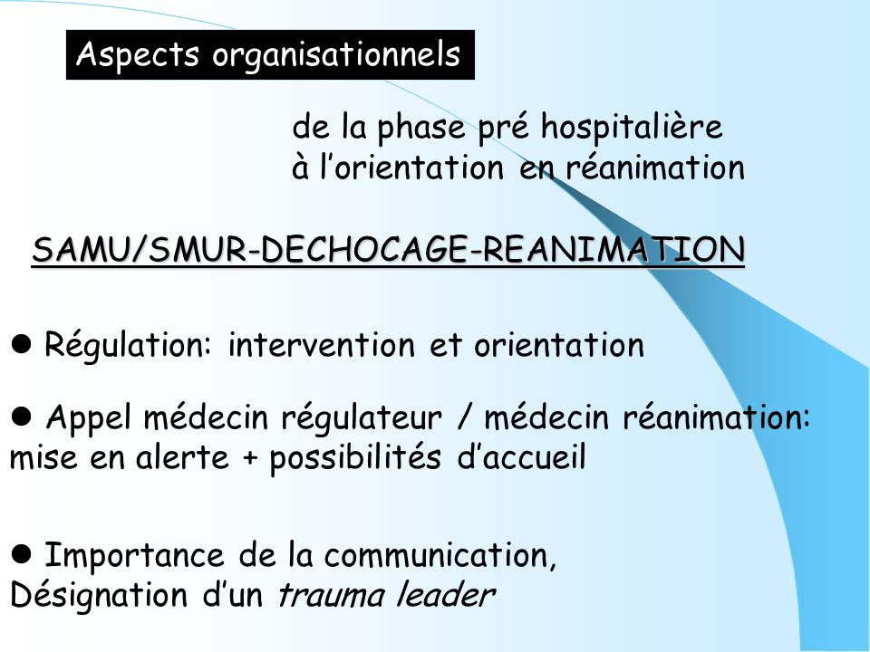 Aspects organisationnels