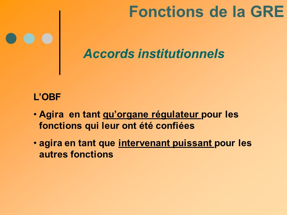 Fonctions de la GRE Accords institutionnels L'OBF