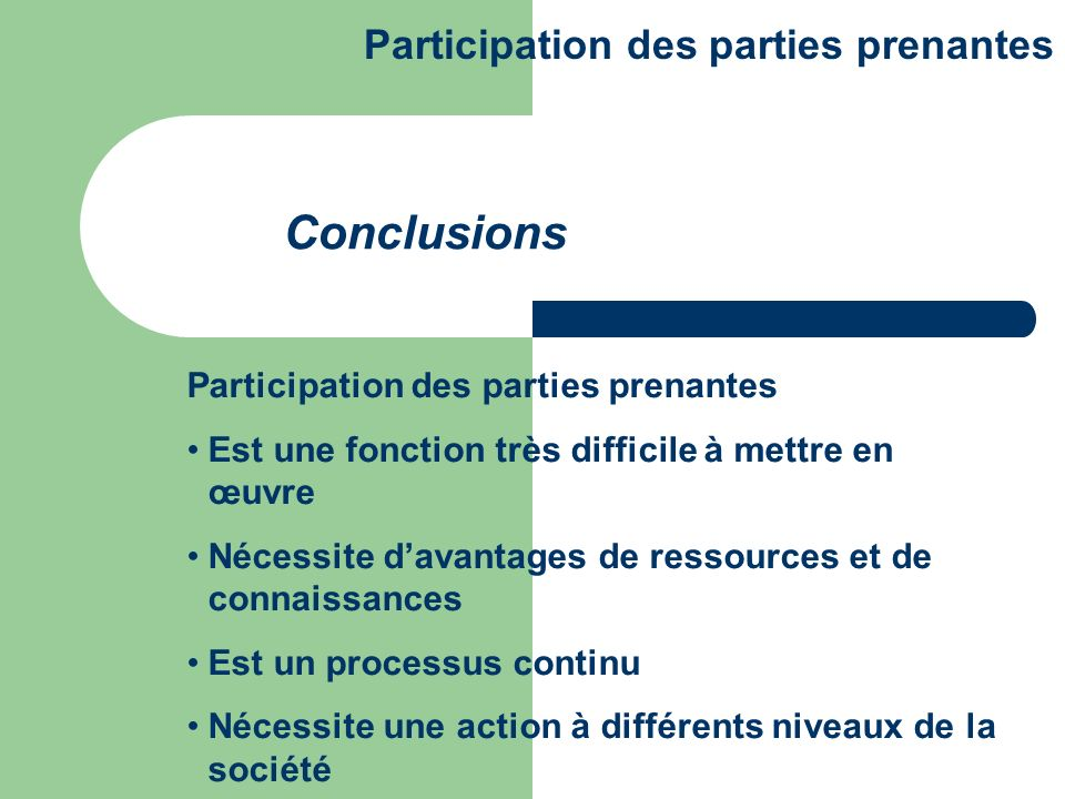 Conclusions Participation des parties prenantes