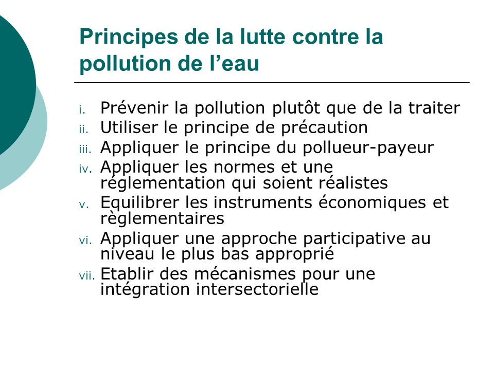 Principes de la lutte contre la pollution de l'eau